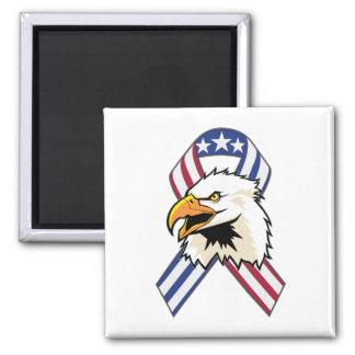 U.S. Patriotic Eagle Flag Square Magnet