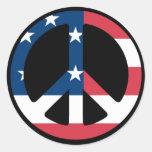 U.S. Peace Sign Round Sticker