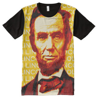 U.S. President Abraham Lincoln Portrait All-Over Print T-Shirt