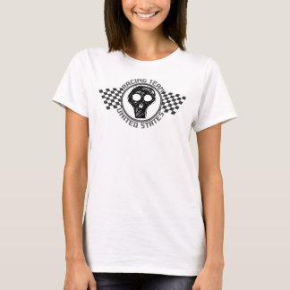 U.S. Racing Team - Scull with Chequered Flags T-Shirt
