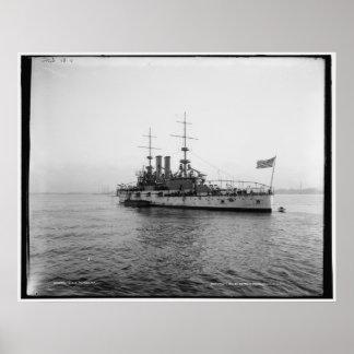 U.S.S. Alabama Battleship c1902 Vintage Poster