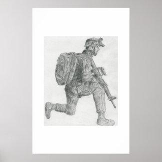 U.S. soldier resting Poster