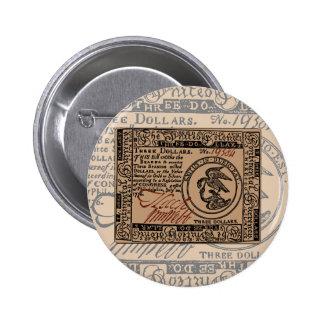 U.S. Three Dollar Bill - Button #2