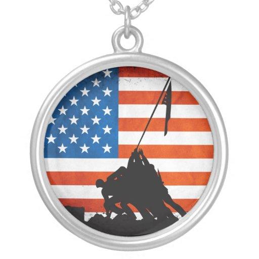 U.S. Veterans Silhouette Personalized Necklace