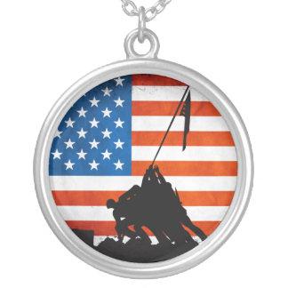 U.S. Veterans Silhouette Round Pendant Necklace