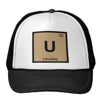 U - Ukulele Music Chemistry Periodic Table Symbol Mesh Hats