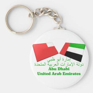 UAE & Abu Dhabi Flag Tiles Basic Round Button Key Ring