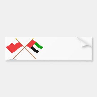 UAE and Abu Dhabi Crossed Flags Bumper Stickers