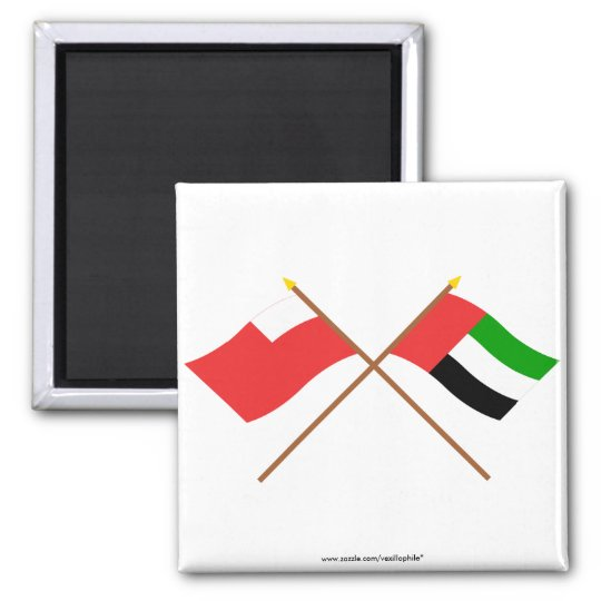 UAE and Abu Dhabi Crossed Flags Square Magnet