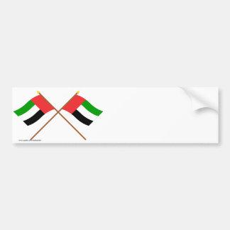 UAE and Fujairah Crossed Flags Bumper Stickers