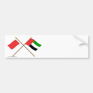 UAE and Sharjah Crossed Flags Bumper Sticker