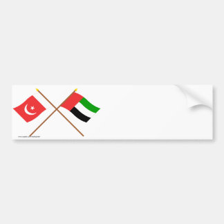 UAE and Umm al-Quwain Crossed Flags Bumper Sticker