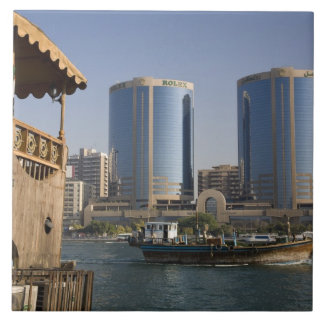 UAE, Dubai, Dubai Creek. Dhow cruises channel Large Square Tile