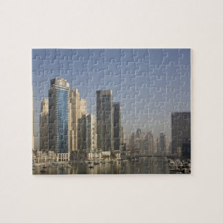 UAE, Dubai. Marina towers with boats at anchor. Jigsaw Puzzle