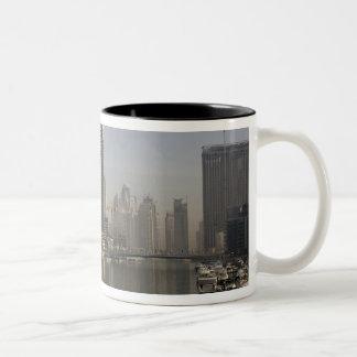 UAE, Dubai. Marina towers with boats at anchor. Two-Tone Coffee Mug