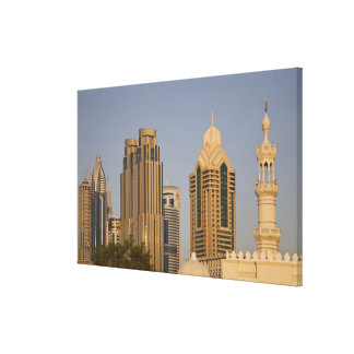 UAE, Dubai. Minaret of mosque in Al Wasl, with Stretched Canvas Prints