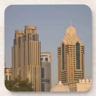 UAE, Dubai. Minaret of mosque in Al Wasl, with Coasters