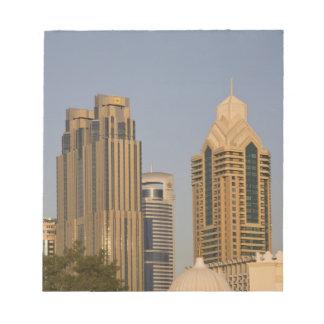 UAE, Dubai. Minaret of mosque in Al Wasl, with Notepads
