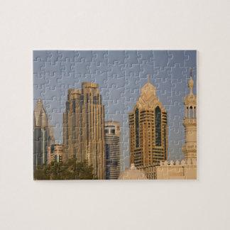 UAE, Dubai. Minaret of mosque in Al Wasl, with Puzzles