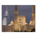 UAE, Dubai. Mosque in evening with Burj al Arab Poster