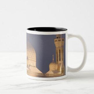 UAE, Dubai. Mosque in evening with Burj al Arab Two-Tone Coffee Mug