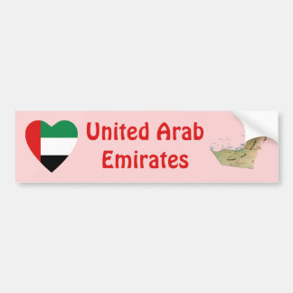 UAE Flag Heart + Map Bumper Sticker Car Bumper Sticker