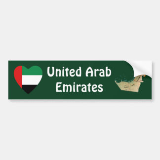UAE Flag Heart + Map Bumper Sticker