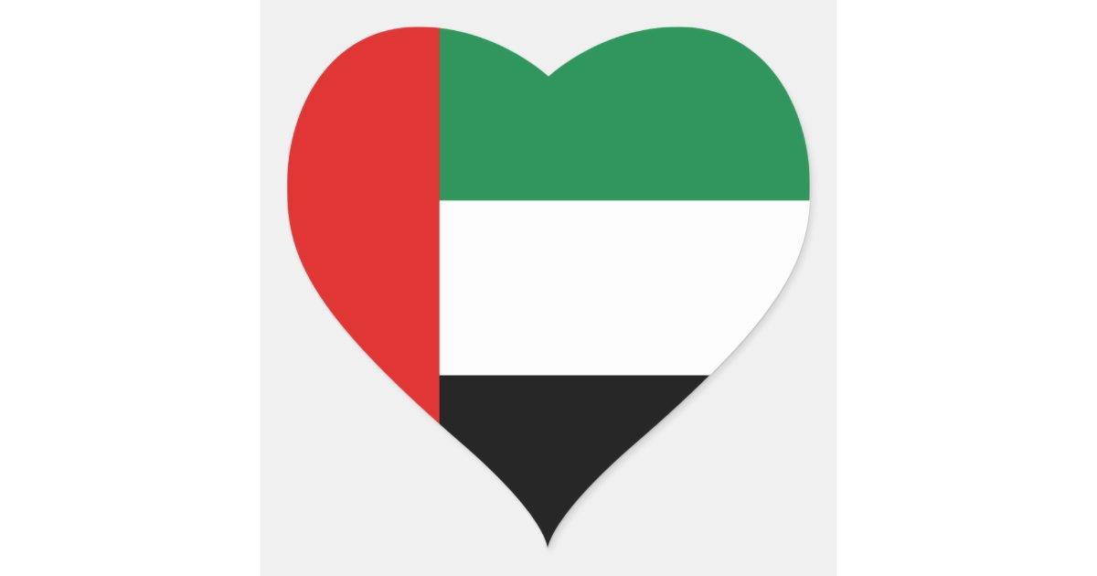 Uae flag heart sticker zazzle co uk