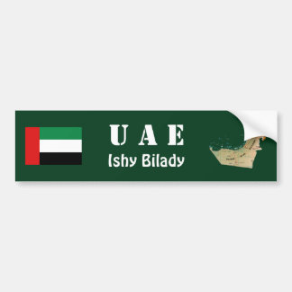 UAE Flag + Map Bumper Sticker Car Bumper Sticker