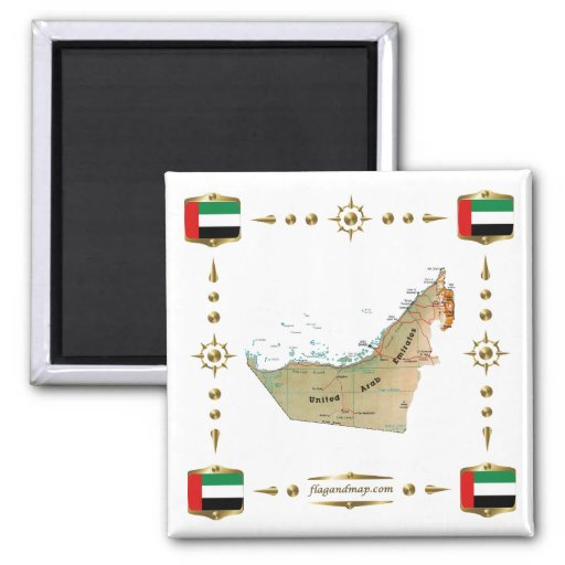 UAE Map + Flags Magnet