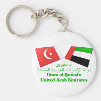 UAE & Umm al-Quwain Flag Tiles Basic Round Button Key Ring