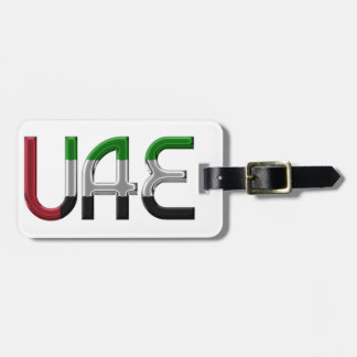 UAE United Arab Emirates Flag Colors Typography Luggage Tag