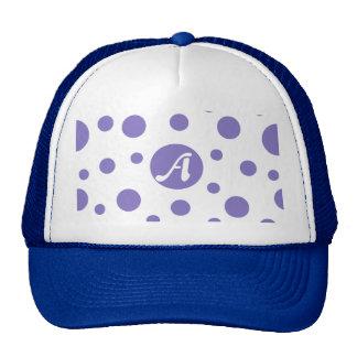 Ube and White Polka Dots Monogram Trucker Hat