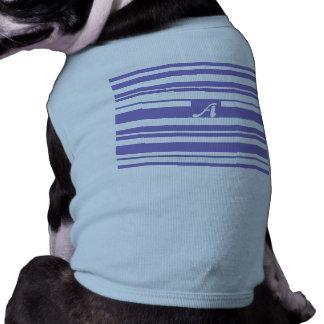 Ube and White Random Stripes Monogram Doggie Tee Shirt