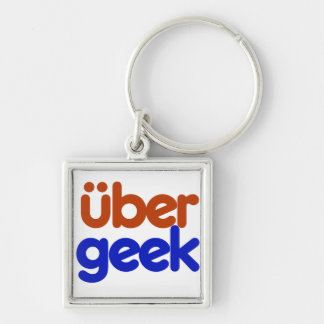 Uber Geek Silver-Colored Square Key Ring