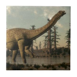 Uberabatitan dinosaur in the lake small square tile