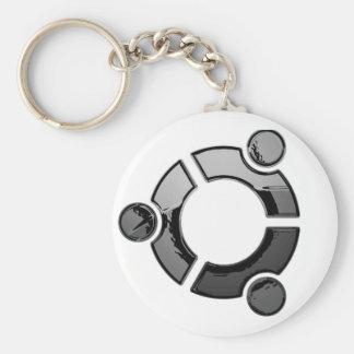 Ubuntu (chrome) basic round button key ring