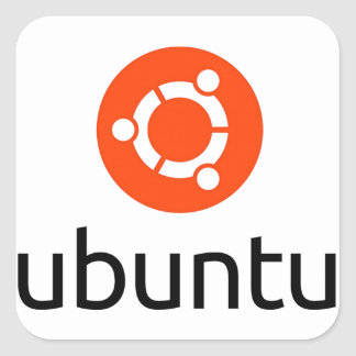 Ubuntu Linux Logo Square Sticker
