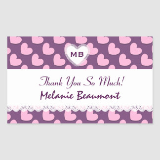 UDEVELOP Bridal Shower Thank You Pink Hearts Stickers