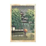 Udo Tower, Kumamoto Castle in rain Kawase Hasui Stretched Canvas Print