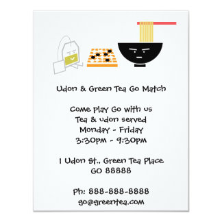 "Udon & Green Tea Bag Playing Go Invitation 4.25"" X 5.5"" Invitation Card"