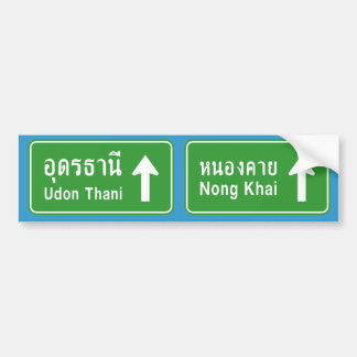 Udon Thani Ahead ⚠ Thai Highway Traffic Sign ⚠ Bumper Sticker