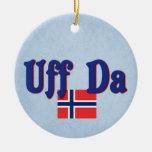 Uff Da Norway Norwegian Round Ceramic Decoration