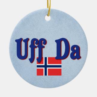 Uff Da Norway Norwegian Scandinavian Slogan Round Ceramic Decoration