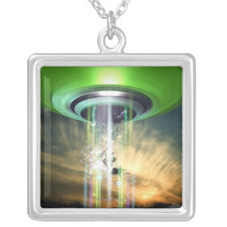 UFO 2 SILVER PLATED NECKLACE
