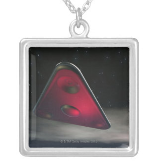 UFO 3 SILVER PLATED NECKLACE