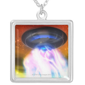 UFO 4 SILVER PLATED NECKLACE