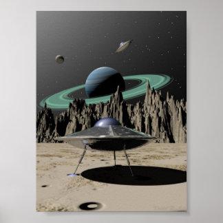 UFO - 50's SciFi Kitch (by Kristel R. Sitz) Poster