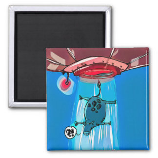 ufo abduction cow cartoon style funny illustration square magnet