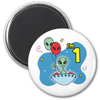 UFO Alien 1st Birthday 6 Cm Round Magnet